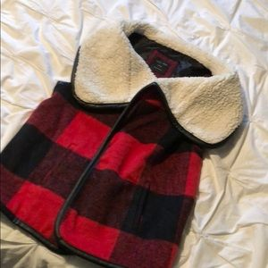 Buffalo plaid Sherpa lined vest